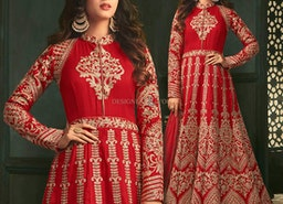 Privileged Crimson Red Diamond Worked Floor Length Anarkali Suit