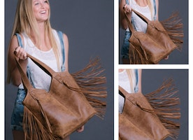 BACK IN STOCK // Leather Fringe Bag (brown) Mayko is giving you 10% OFF to apologise for any bag withdrawals from not having it on the shelves for purchase!