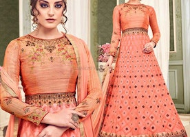 Attention-Grabbing Peach Phulkari Embroidered Net Gown Dress