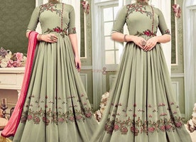 Attractive Celadon Green Georgette Floor Touch Indo Western Gown