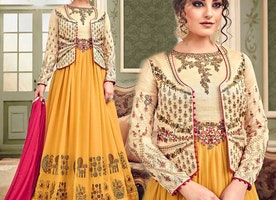 Astonishing Dark Yellow And Cream Indian Suit Best For Hourglass Body