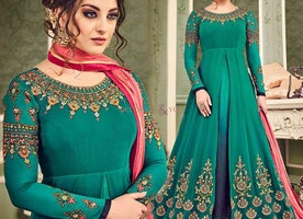 Atypical Blue And Green Front Slit Indo Western Dress For Pear Shape