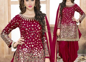 Challenging Stizza Red Straight Patiala Salwar Kameez Set