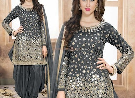 Captivating Grey Knee Length Patiala Dress For Light Skin Tone
