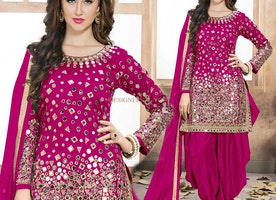 Brilliant Pink Embroidered Art Silk Mirror Work Patiala Suit