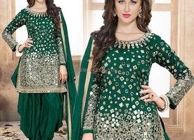 Breathtaking Dark Green Patiala Salwar Suit For Indian Skin Tone