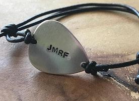 Custom silver guitar pick adjustable bracelet