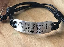 Custom adjustable leather cord bracelet