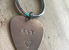 Custom guitar pick keychain