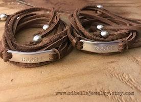 custom word wrap bracelets