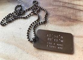 Coordinates dog tag necklace