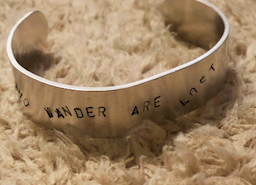 Not all who wander are lost hammered cuff bracelet silver hiking present for adventurer friend