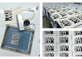Printing our new... Mayko cotton market tote bags! - fun fun fun