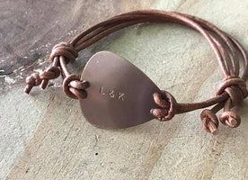 Custom guitar pick leather adjustable bracelet
