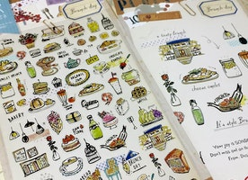 FOOD stickers, Brunch lunch dinner food label yummy food tea Time cooking planner sticker, food party cooking label recipes sticker gift