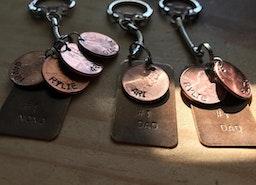 Custom penny keychain with names