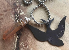 "Ready to ship ""let it be"" bird pendant with crystal"