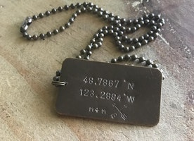 personalized coordinates brass necklace