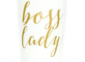 BOSS LADY TRAVEL MUG IN WHITE AND MATTE GOLD
