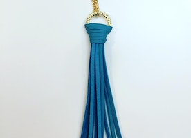 GENUINE LEATHER TASSEL MAXI NECKLACE IN BLUE OR GRAY
