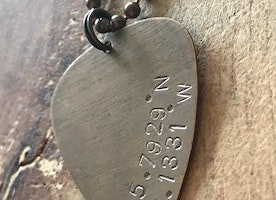 Custom coordinates guitar pick necklace