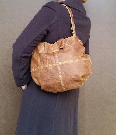 Rustic wash brown leather bag - distressed hobo purse - slouchy bag - shoulder handbag with bow - aida