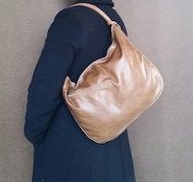 Distressed leather handbag / everyday brown shoulder bag / unique handmade purse sofia