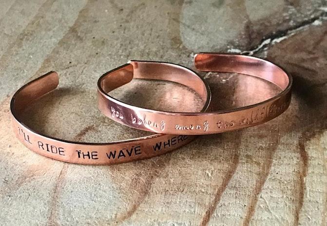 Custom music quote cuffs