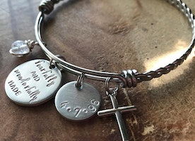 Custom bangle with bible verse and personalized charms