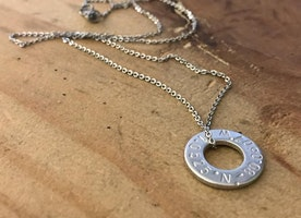 Custom floating washer stainless steel necklace