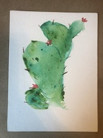 Small 6x8 Watercolor Cactus Painting on Canvas | Bad Art and Meow
