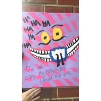 "Original ""Disney"" Alice in Wonderland Cheshire Cat Inspired Bad Art Acrylic Painting | Bad Art and Meow"