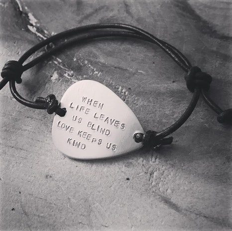 Custom guitar pick leather adjustable bracelet