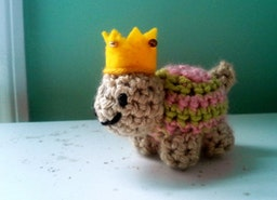 Turtle Crochet Stuffed Tiny Doll Princess Crown Pink Green Stripes