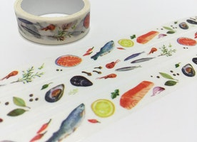Food masking tape, 3M sea food fishes meal sticker tape, kitchen dinner washi tape, cooking planner food label food party invitations gift