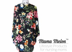 Nursing Poncho/ Cover black floral