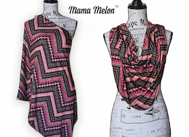 Nursing Scarf/ Cover pink/orange/black – chevron