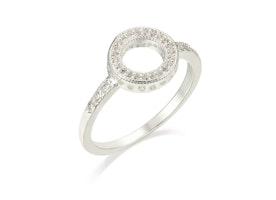 Open Circle Diamante Ring - Silver