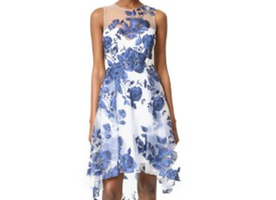Marchesa Notte Sleeveless Embroidered A-Line Cocktail Dress