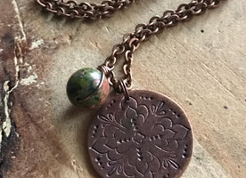 Ready to ship hand stamped Mandala necklace