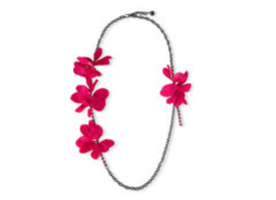 Lanvin Long Crystal Chain Flower Necklace, Fuchsia, 42.5""