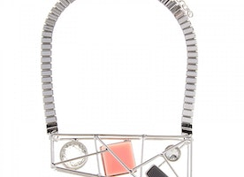 Caged Shapes Necklace - Grey/Pink