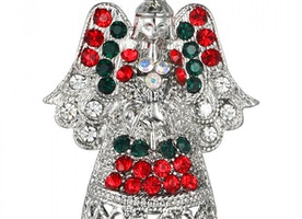 Festive Angel Brooch - Silver