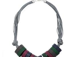 Wooden Hoop Short Necklace - Grey/Purple