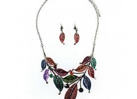 Autumn Leaves Necklace Set - Multi