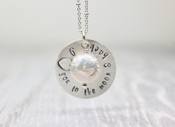 I love you to the moon & back handstamped necklace