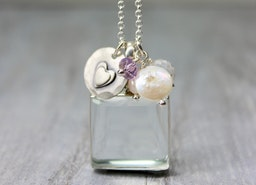 Extra Long Sterling Silver & Antique Glass Locket