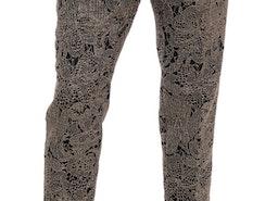 Dolce & Gabbana Gray Black Floral Lace Cropped Pants