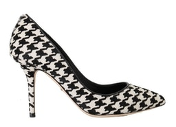 Dolce & Gabbana White Black Hair Leather Pumps