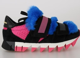 Dolce & Gabbana Black Leather Blue Fur Sneakers
